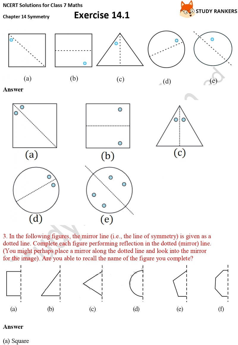 NCERT Solutions for Class 7 Maths Chapter 14 Symmetry Exercise 14.1 Part 3
