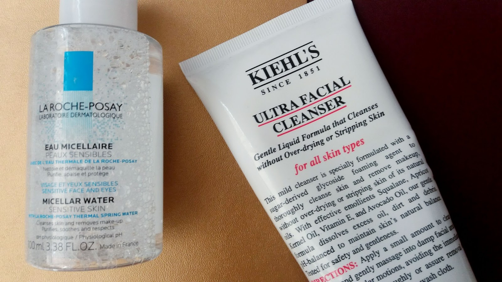 La Roche Posay Micellar Water and Kiehl's Ultra Facial Cleanser