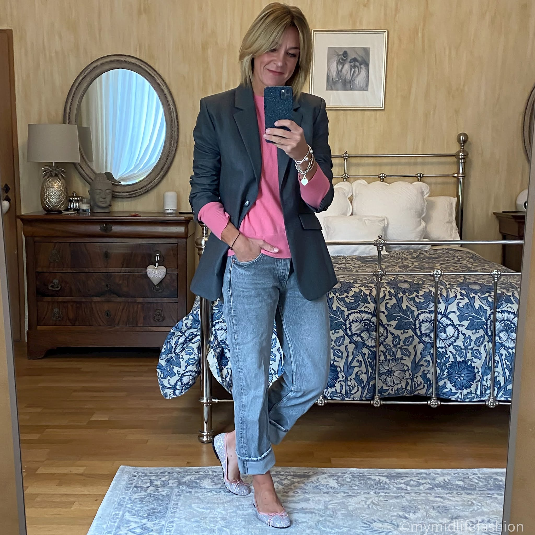 my midlife fashion, zara turn up straight leg boyfriend jeans, h and m wool blazer, marks and Spencer pure cashmere round neck jumper, French sole India glitter ballet pumps