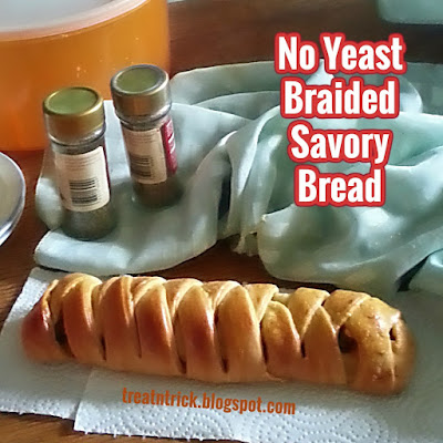 No Yeast Braided Savory Bread Recipe  @ treatntrick.blogspot.com