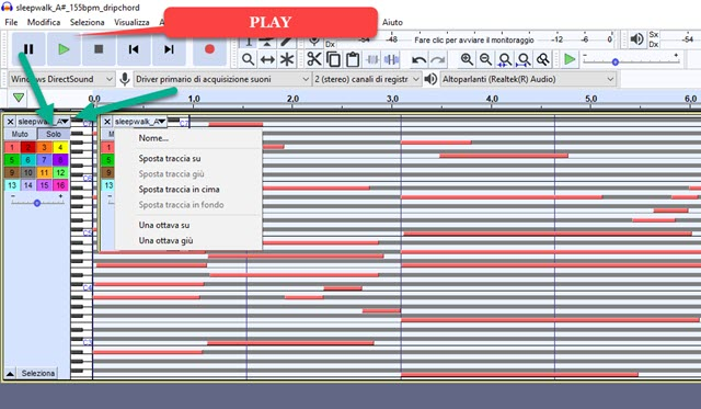 riprodurre i file MIDI con Audacity