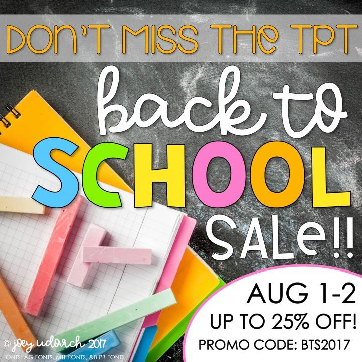 Shop during TpT's Back To School Sale on 8/1-2/17 & save up to 25% with promo code BTS2017!
