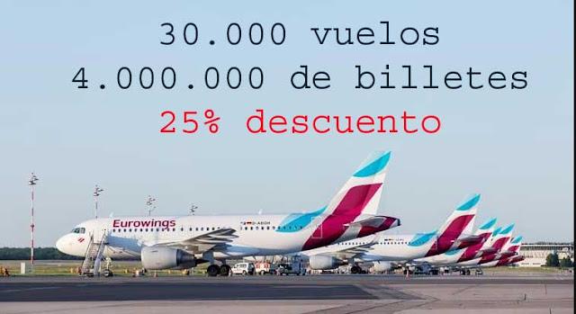 oferta de vuelos baratos eurowings 25 por ciento de descuento