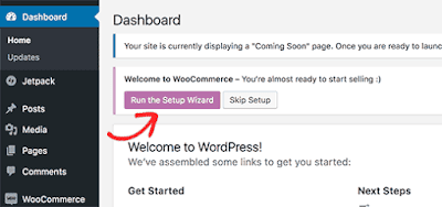run setup wizard woocommerce