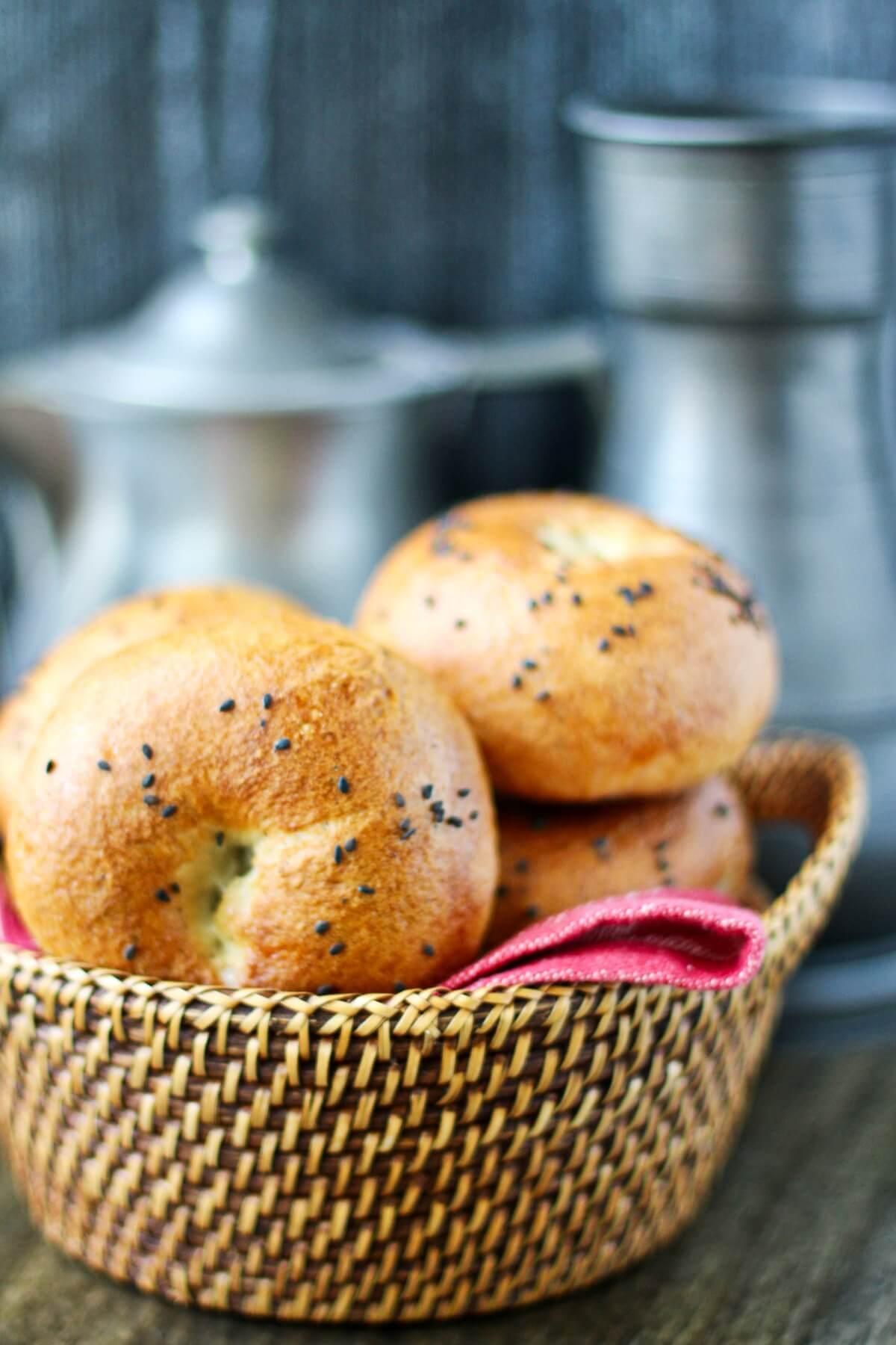 Bagels in a basket.