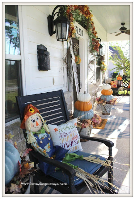 Fall -Porch-Suburban-farmhouse-rocking-chairs-porch-swing-stacked-pumpkins-From My Front Porch To Yours