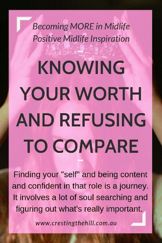 "Finding your ""self"" and being content and confident in that role is a journey. It involves a lot of soul searching and figuring out what's really important. #value #selfworth"