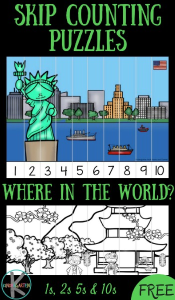 FREE Where in the World Skip Counting Puzzles are such a fun way for Prek, Kindergarten, and first grade student to practice counting by 1s, counting by 2s, counting by 5s, and counting by 10s while they learn about countries from around the world (in color or black and white!) Great for math center, homeschool, summer learning, homeswork, extra practice, math activity, and more! #skipcounting #numberpuzzles #math #freemathgames #kidnergarten #kindergartenmath #kindergartenworksheetsandgames