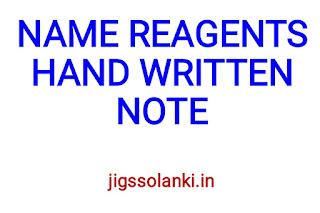 NAME REAGENTS HAND WRITTEN NOTE