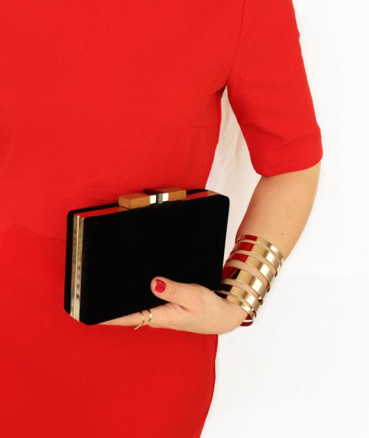 Moja świąteczna stylizacja i manicure - czarna aksamitna torebka Zara