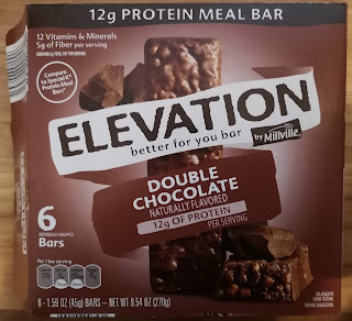 Product packaging for Elevation by Millville Double Chocolate Protein Meal Bar, from Aldi
