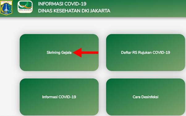 Cara Cek/Periksa Mandiri untuk Mendeteksi Virus Corona Secara Online di Website Resmi Dinas Kesehatan DKI Jakarta