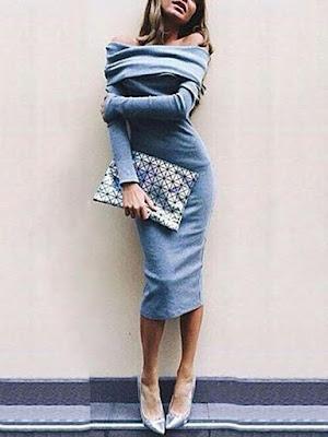 Open Shoulder Plain Bodycon Dresses