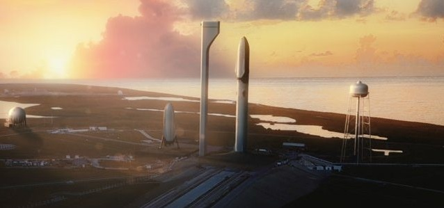 A rendering of what SpaceX expects the Interplanetary Transport System to look like. The rocket will launch from historic Launch Complex 39A, which sent the first humans to the Moon in 1969. Image Credit: SpaceX