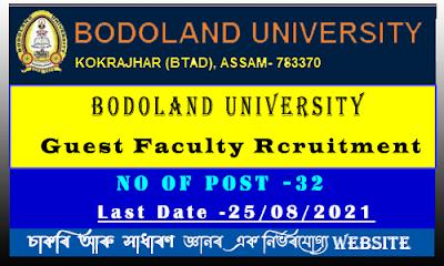 Bodoland University Guest Faculty Rcruitment 2021