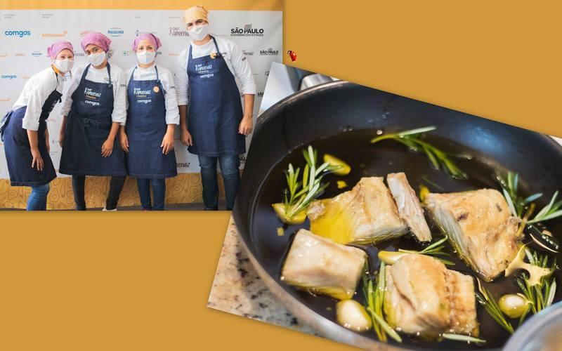 """O Felipe, a Thais Silva, a Thais Batista e a Sarah, participantes do Chef Aprendiz Chuvisco, sugerem o """"Bacalhau confitado com purê de grão de bico""""."""
