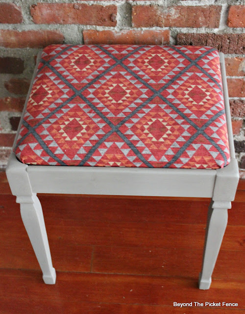 piano stool, fusion mineral paint, waverly fabric, http://bec4-beyondthepicketfence.blogspot.com/2016/03/paint-makeover.html