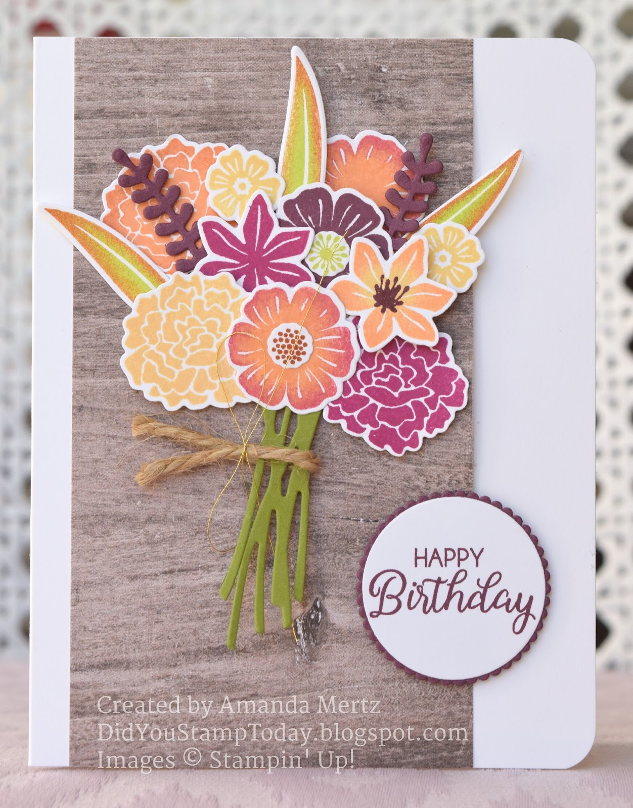 Did you stamp today fall birthday bouquet stampin up beautiful flowers in rich autumn colors which i tried to recreate with the beautiful bouquet bundle i did some select sponging on a few of the flowers and leaves izmirmasajfo