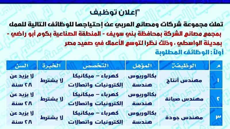 مطلوب مهندسين  لمجموعة شركات ومصانع العربي