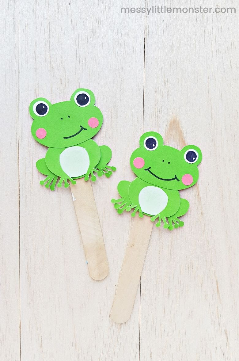 frog craft - 5 speckled frogs nursery rhyme prop