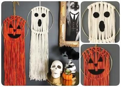 Tapices macabros para Halloween de macramé