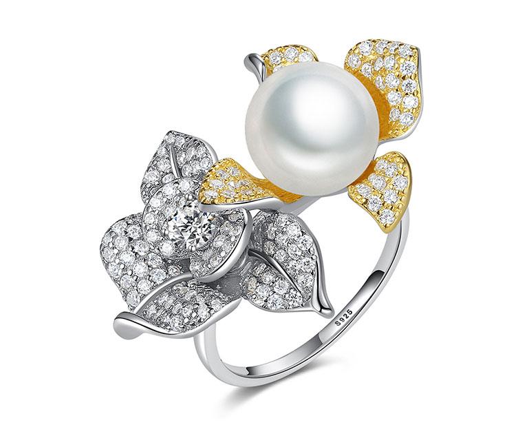 華麗風雙色擬珍珠 925純銀開口式戒指