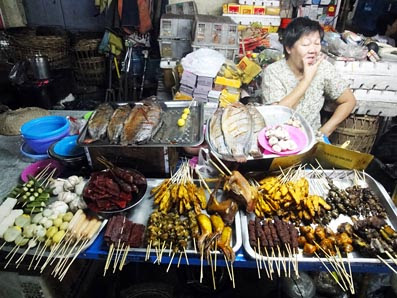 Yangon Chinatown Street Food on the stick