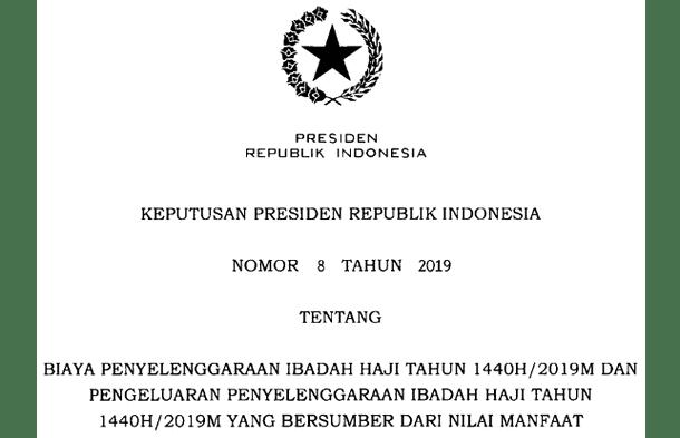 Biaya Penyelenggaraan Ibadah Haji Tahun 2019M-1440H