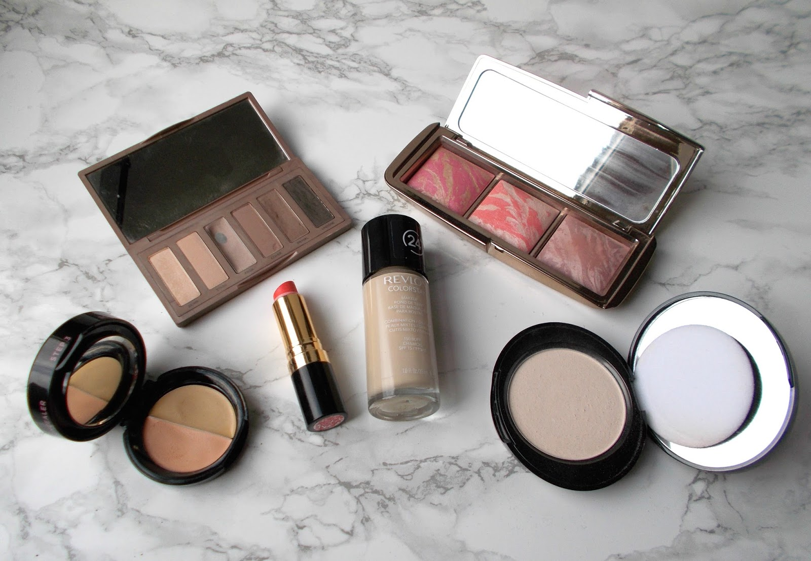 most used makeup hourglass blush urban decay naked basics 2 revlon colorstay lovers coral no7 perfect light powder soap and glory concealer