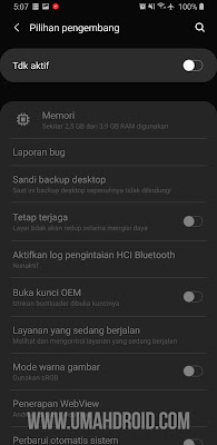 Mematikan Pilihan Pengembang Samsung