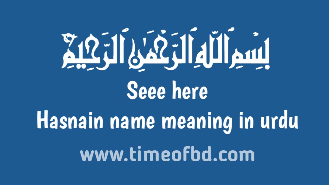 Hasnain name meaning in urdu, حسنین نام کا مطلب اردو میں ہے