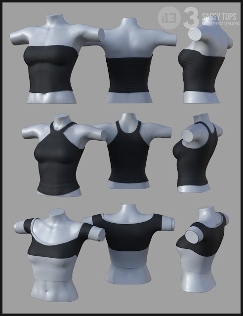 i13 3 Sassy Tops for the Genesis 3 Female