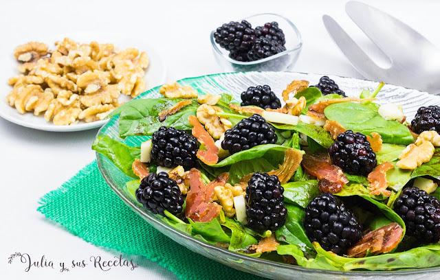 Ensalada de espinacas y moras. Julia y sus recetas