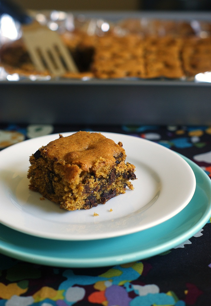 pumpkin chocolate chip bars, the ultimate fall treat! ♥ bakeat350.net