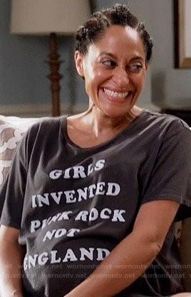 Girls Invented Punk Rock Not England t-shirt worn by Rainbow Johnson on Black-ish.  PYGear.com
