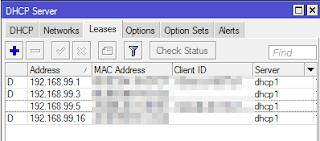 Daftar ip address dhcp mikrotik