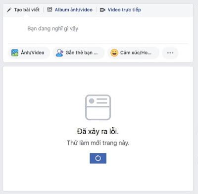 Facebook không tải được bảng tin (News Feed)