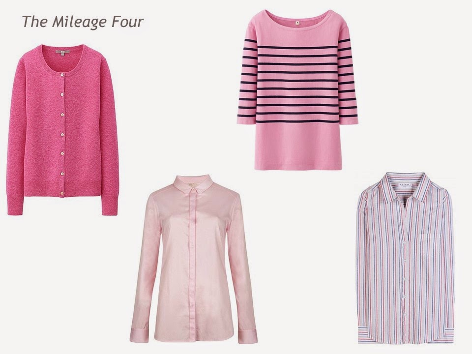 A Mileage Four in pink and rose: cardigan, shirt, tee shirt and striped shirt