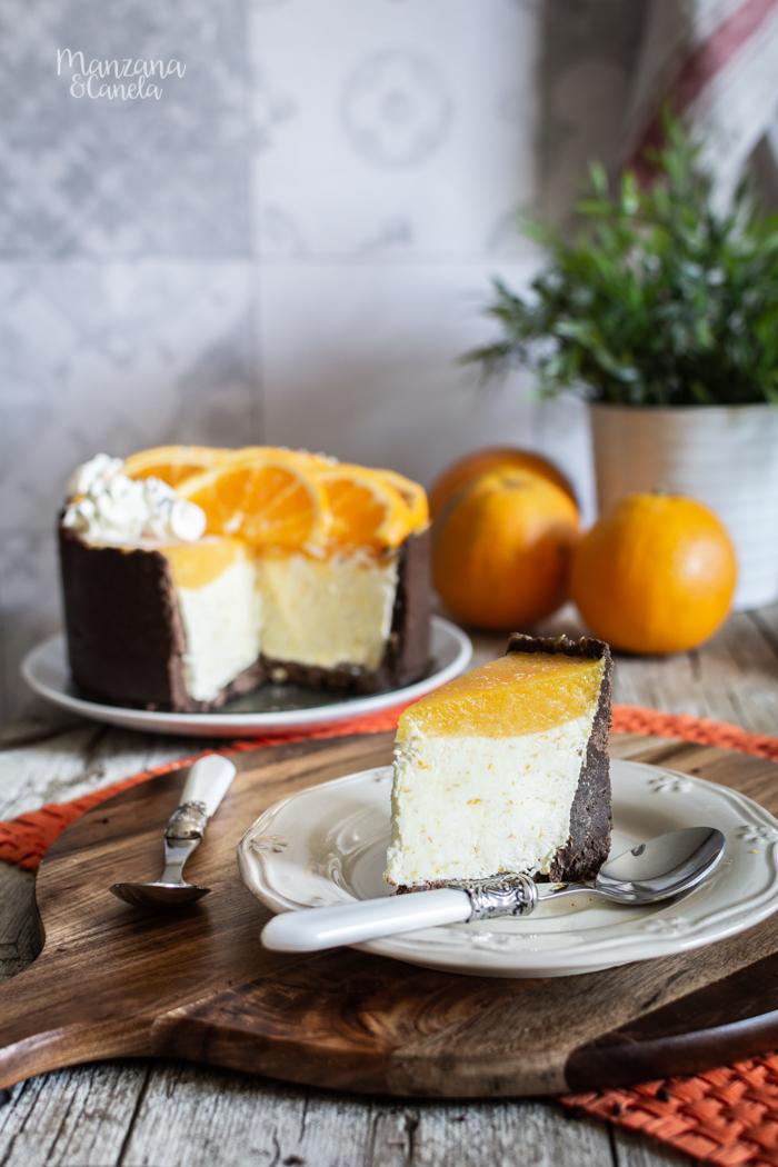 Tarta helada de naranja y chocolate. Receta muy fácil sin horno.