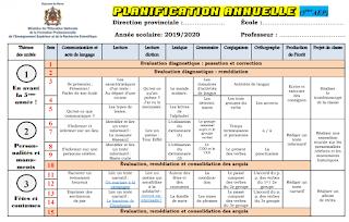 التوزيع السنوي لمادة اللغة فرنسية للمستويين الخامس والسادس ابتدائي