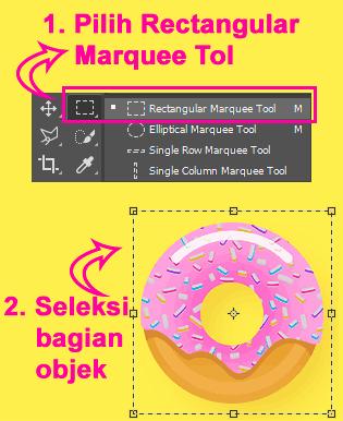 Rectangular Marquee Tool untuk memilih bagian foto tertentu di Photoshop