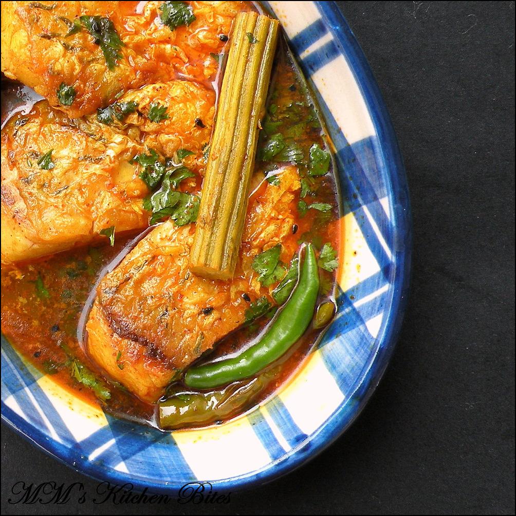 Rui Macher Tel Jhol (Fish flavored with nigella seedsand green chilies ...