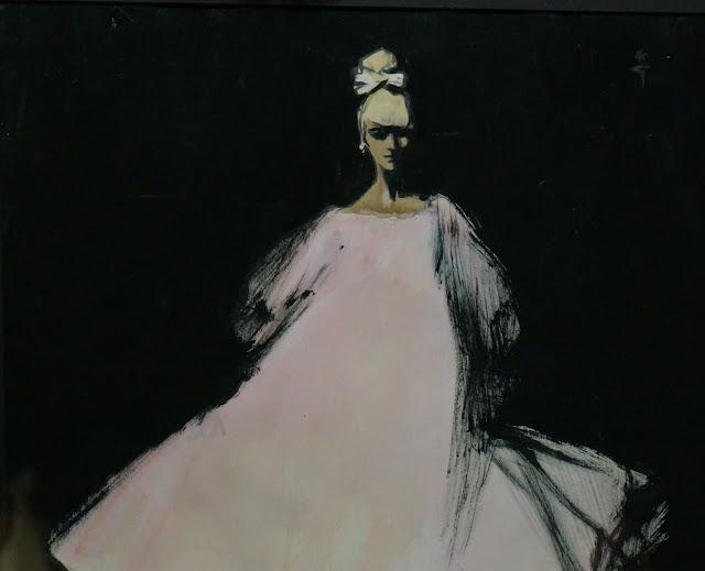 illustration aquarelle gouache Rene Gruau parfum Diorling Christian Dior 1963