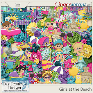 Ginger Scraps June 2018 Color Challenge  and Coordinating Freebie to Girls at the Beach by Day Dreams n Desings