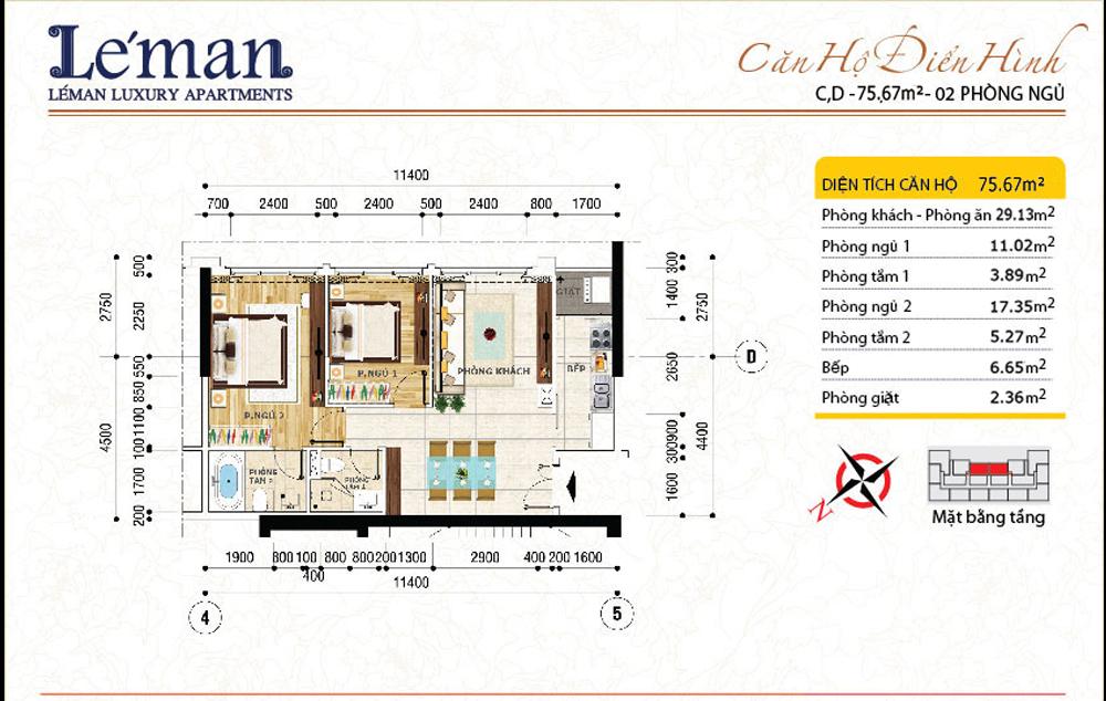 Mặt bằng căn hộ Leman C T Plaza 2 phòng ngủ | DT: 75.67m2