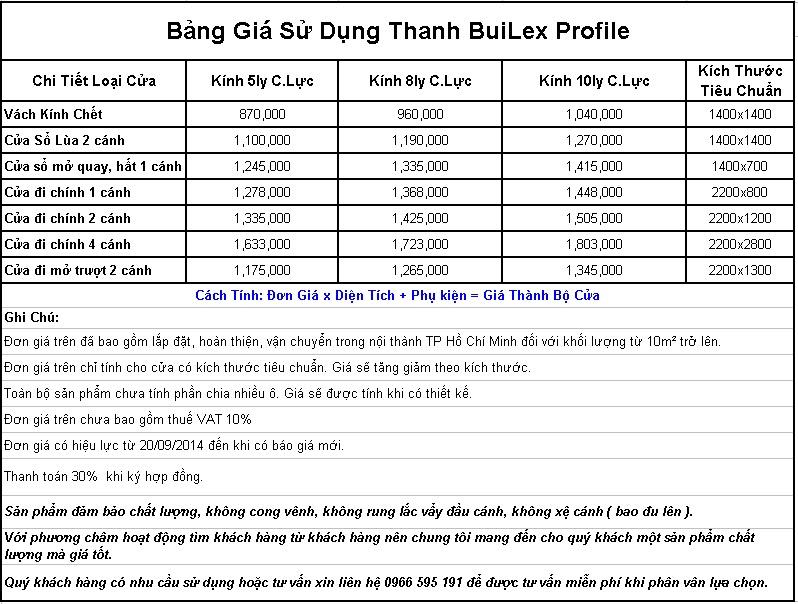 Báo Giá Cửa Nhựa Lõi Thép Builex Profile