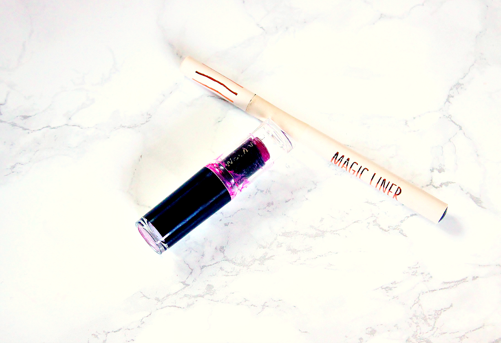 wet'n'wild mega last lipstick in sugar plum fairy, topshop magic liner in engraved