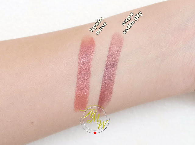 a swatch photo of The Body Shop Colour Crush Lipsticks review in shades Kyoto Acer and Cape Calla Lily
