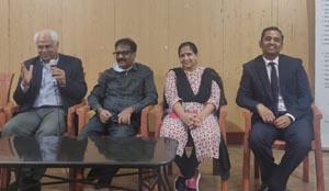 Dr. Ajit K Huligol, Dr. Sumathi Kumar (Recipient - patient), Vanitha (Donor - Patient's Wife) and Dr. Deepak Kumar C
