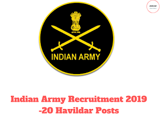 Indian Army Recruitment 2019 -20 Havildar Posts